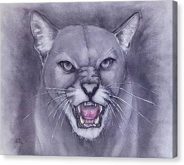 Black And White Canvas Print - Fierce Cougar by Kelly Mills