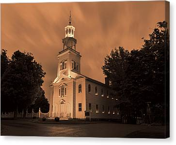 Candle Lit Canvas Print - Fierce Grace - First Church Bennington by Stephen Stookey