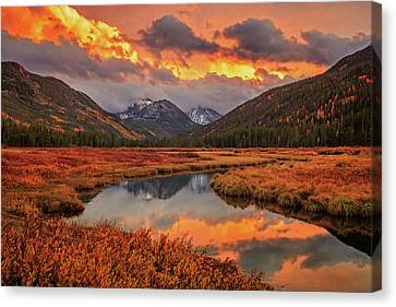 Canvas Print featuring the photograph Fiery Bear River Sunset by Johnny Adolphson