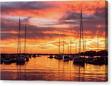 Fiery Lake Norman Sunset Canvas Print by Serge Skiba
