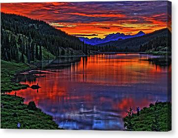 Canvas Print featuring the photograph Fiery Lake by Scott Mahon