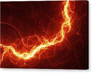 Fiery Lightning Canvas Print by Martin Capek