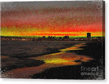 Canvas Print featuring the digital art Fiery Sunset by Mariola Bitner
