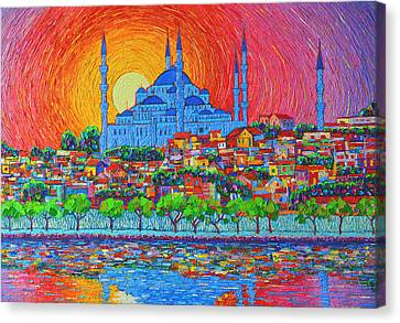 Fiery Sunset Over Blue Mosque Hagia Sophia In Istanbul Turkey Canvas Print