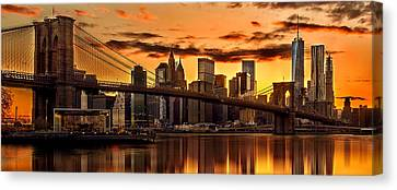 New York City Skyline Canvas Print - Fiery Sunset Over Manhattan  by Az Jackson