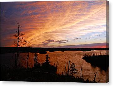 Fiery Sunset Over Seagull Lake Canvas Print by Larry Ricker