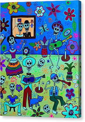 Canvas Print featuring the painting Fiesta Calaveras IIi by Pristine Cartera Turkus