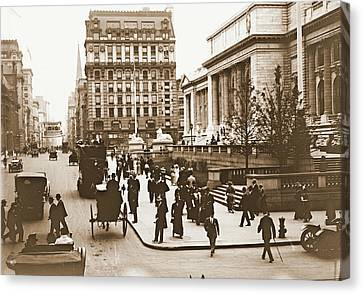 Fifth Avenue And New York City Public Library 1908 Canvas Print by Padre Art