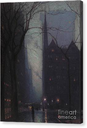 Street Lights Canvas Print - Fifth Avenue At Twilight by Lowell Birge Harrison