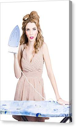 Fifties Housewife Woman Ironing Clothes Canvas Print by Jorgo Photography - Wall Art Gallery