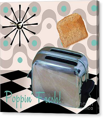 1960 Canvas Print - Fifties Kitchen Toaster by Mindy Sommers