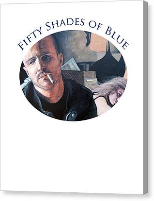 Canvas Print featuring the painting Fifty Shades Of Blue by Tom Roderick