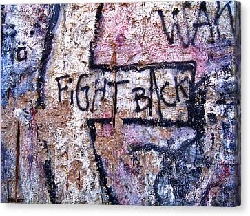 Fight Back - Berlin Wall Canvas Print by Juergen Weiss
