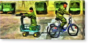 Tricycle Canvas Print - Fighters At War by Leonardo Digenio