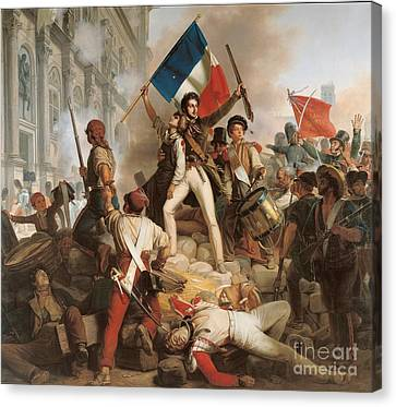 Fighting At The Hotel De Ville Canvas Print by Jean Victor Schnetz