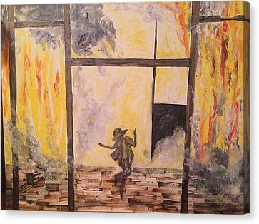 Fighting Fire Tap Dancer Canvas Print by Tonya Walter