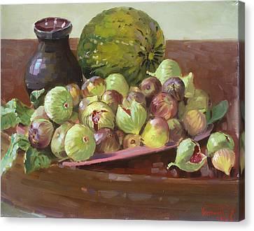 Cantaloupe Canvas Print - Figs And Cantaloupe by Ylli Haruni