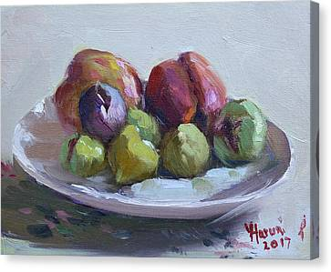 Fig Canvas Print - Figs And Peaches by Ylli Haruni
