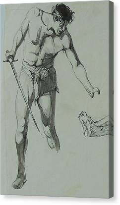 Canvas Print featuring the painting Figure Drawing 1961. by Mike Jeffries