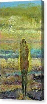 Figure On A Beach Canvas Print by Michael Creese