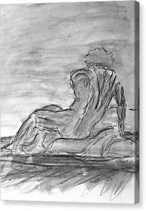 Figure Sketch In Monochrome Black White Arched And Curved Twisted Back Leaning On One Hand In Seated Canvas Print