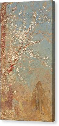 Figure Under A Blossoming Tree Canvas Print by Odilon Redon