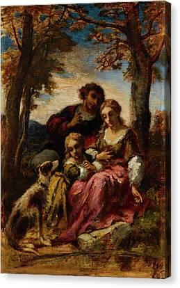 Figures And A Dog In A Landscape Canvas Print by Narcisse Virgile Diaz de la Peria