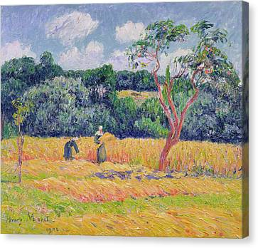 Figures Harvesting A Wheat Field Canvas Print