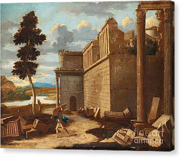 Figures In A Landscape With Ruins Canvas Print by Celestial Images