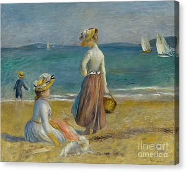 Dog On The Beach Canvas Print - Figures On The Beach, 1890 by Pierre Auguste Renoir