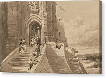 Outer Canvas Print - Figures On The Outer Staircase Of A Castle by David Cox