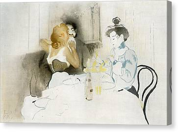 Wine Scene Canvas Print - Figures Seated In A Caf by Vintage Design Pics