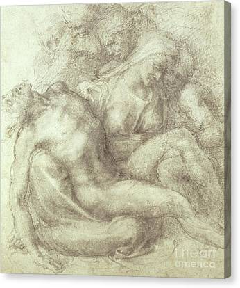 Figures Study For The Lamentation Over The Dead Christ, 1530 Canvas Print by Michelangelo