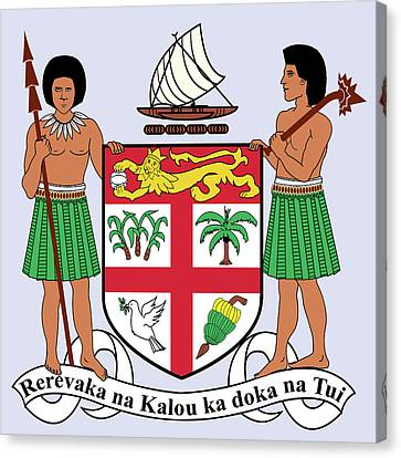 Canvas Print featuring the drawing Fiji Coat Of Arms by Movie Poster Prints