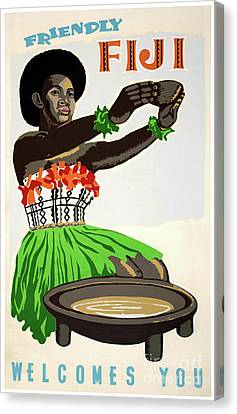 Fiji Restored Vintage Travel Poster Canvas Print