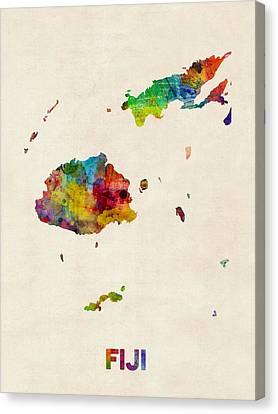 Fiji Watercolor Map Canvas Print by Michael Tompsett