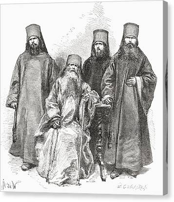 Orthodox Canvas Print - Filaret Drozdov And His Three Sons by Vintage Design Pics