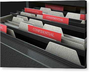 Filing Cabinet Drawer Open Confidential Canvas Print by Allan Swart