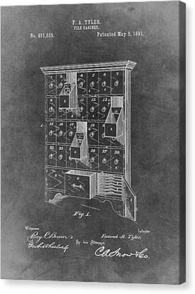 Drawers Canvas Print - Filing Cabinet Patent by Dan Sproul