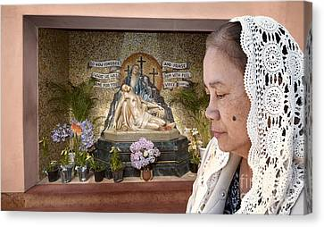 Crucify Digital Art Canvas Print - Filipina Woman Wearing A Vale Deep In Thought  by Jim Fitzpatrick
