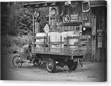Fill Er Up          B And W Canvas Print