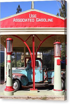 Old American Truck Canvas Print - Filling Up The Old Ford Jalopy At The Associated Gasoline Station . Nostalgia . 7d12884 by Wingsdomain Art and Photography