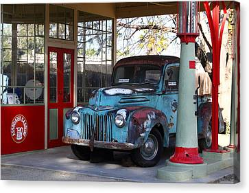 Old American Truck Canvas Print - Filling Up The Old Ford Jalopy At The Associated Gasoline Station . Nostalgia . 7d13021 by Wingsdomain Art and Photography