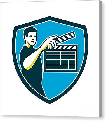 Film Crew Clapperboard Shield Retro Canvas Print by Aloysius Patrimonio
