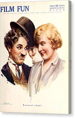 Film Fun Classic Comedy Magazine Featuring Charlie Chaplin And Girl 1916 Canvas Print by R Muirhead Art