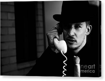Film Noir Detective On Telephone Canvas Print by Jorgo Photography - Wall Art Gallery