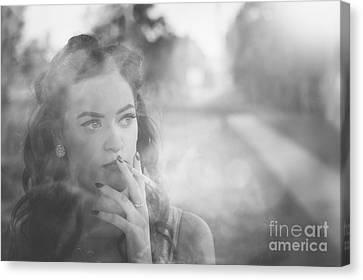 Film Noir Lady Smoking Cigarette On Vintage Street Canvas Print by Jorgo Photography - Wall Art Gallery