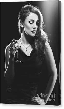 Film Noir Woman Drinking A Martini Canvas Print by Amanda Elwell
