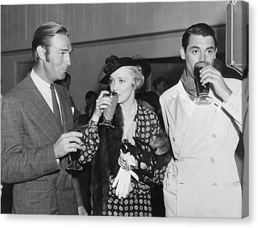 Film Stars At Gathering Canvas Print by Underwood Archives