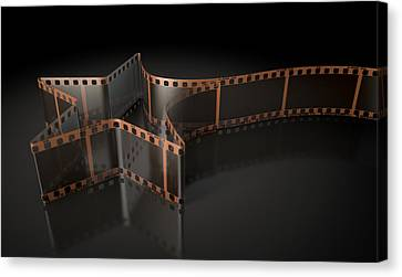 Film Strip Shooting Star Curled Canvas Print by Allan Swart